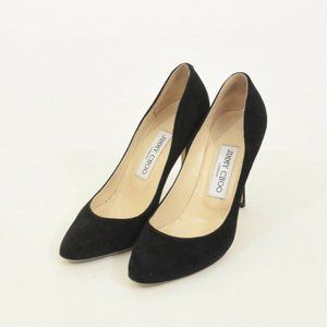 Jimmy Choo Black Suede Leather Round Toe Pumps